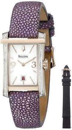 Bulova Women's 98R197 Analog Display Quartz Purple Watch ** See this awesome image