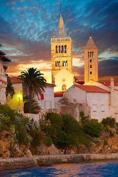 The medieval town and cliffs Rab. Rab Island, Croatia