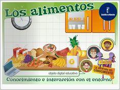 """""""Los alimentos"""", de la Junta de Castilla La Mancha, es una aplicación que contiene todos los elementos sobre la alimentación, presentada de forma expositiva e interactiva (alimentos, origen, dieta diaria, comportamientos respecto a la alimentación). Dirigida a Educación Infantil, pero válido para 1º y 2º niveles de Educación Primaria."""