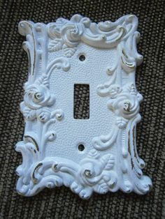 Shabby White Chic Victorian Lightswitch Cover Plate by Shabbinest, $8.00