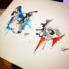 Sketches • Wolf   skull • #tattoo #tatuagem #watercolor #aquarela #art #arte #spotlightartists #arts_help #artoftheday #painting #pintura #koi #wolf #skull #caveira #lobo