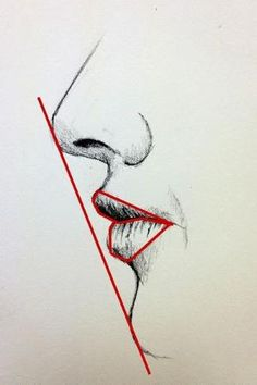 Drawing of a mouth - side view - draw a straight line to see the angle/slant nose to chin; also look for negative space to get the form of the mouth. by Eva