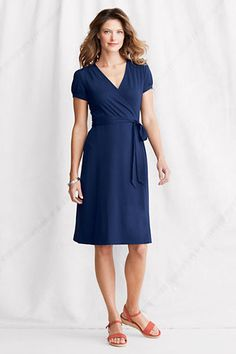 Cross Front Shirtdress - love these! V lengthens neck, bow softly defined waist, perfect knee length. Dress up with jewellery such as bangles and a brooch.