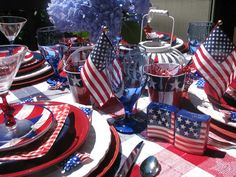 Red, White and Blue table setting.
