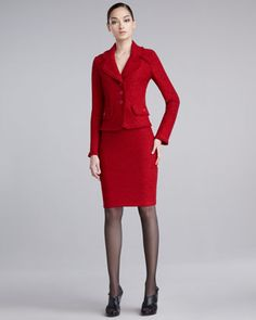 I would accessorize this suit with this necklace. http://www.prisappeal.com/ProductDetails.asp?ProductCode=NKREDV10020Frisse Knit Three-Button Jacket & Pencil Skirt by St. John Collection at Neiman Marcus.