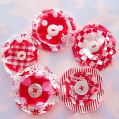 Fabric hair clips with buttons