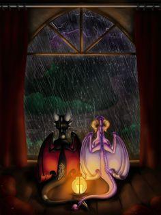 """Let's watch the rain in the dark My love""⛓💀🕸 ""Sounds like a perfect idea Sweetheart""✨🔥🌪 Spyro The Dragon, Dragon Art, Dragon Poses, Spyro And Cynder, Like A Cat, Cool Dragons, God Of War, Skylanders, Furry Art"