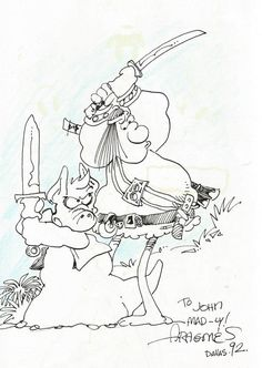 Dave Sim's Cerebus and Sergio Aragones' Groo the Wanderer by Sergio Aragones. Thanks to John Christian!  http://www.cerebusdownloads.com/