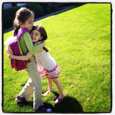 Kids need at least 10 hugs and kisses everyday to grow up big and strong.