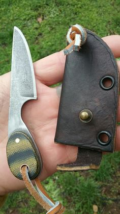 #NightTurtleKnives NightTurtleKnives.etsy.com Neck Knife O1 Tool Steel Acid Etched and Stone Washed. Green n Black Micarta Handles w Copper Pins. Custom Leather Sheath.
