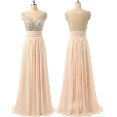 2017 Pink Beaded Chiffon See-through Back Charming Cocktail Evening Pr – AlineBridal