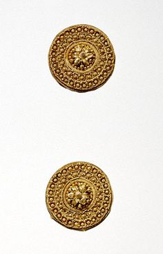 Pair of Disk Earrings (Getty Museum); gold. Etruscan, circa 525-500 BC