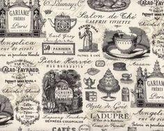 """Patchworkstoff """"Penelope"""", Salon de The' Paris mit Etiketten und Schrift, creme-schwarz"""