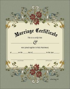 """WC 103-11X14   -- """"MARRIAGE CERTIFICATE""""  Do you have an upcoming marriage, wedding or commitment ceremony ?  Celebrate your Holy Union with a Ceremonial Certificate, Decorative Document or Ornamental Testament to your love and devotion. Display the memory of your happy day in your home for all to see and appreciate. Wedding Certificate, Marriage Certificate, Marriage Records, Marriage License, Wedding Reception, Wedding Day, Bride Shower, Bridal Shower Gifts, Engagement Gifts"""