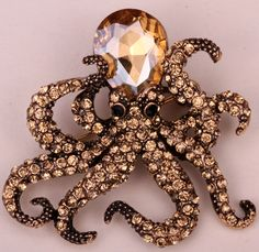 Octopus brooch pin antique gold silver plated W/ crystal animal bling women jewelry gift wholesale dropship BA16