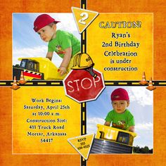 Construction Birthday Thank You Notes Photo Builder Birthday Thank You Notes, First Birthday Cards, Birthday Themes For Boys, 2nd Birthday Parties, Birthday Fun, First Birthdays, Birthday Ideas, Construction Birthday Invitations, Construction Birthday Parties