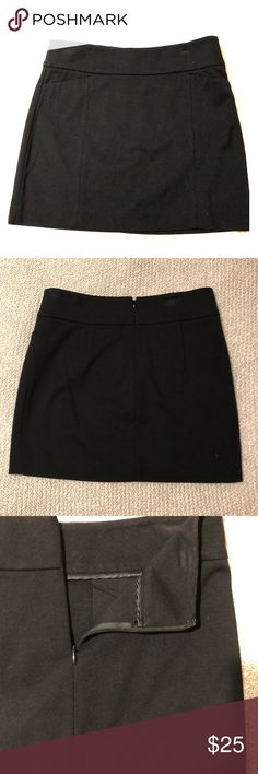 """White House Black Market Mini Skirt Lightly worn Black Mini Skirt. In great condition; some wear on the top of the skirt as shown in photo where hanger clips attached to the skirt. Two small pockets in the front that have not yet been opened. Length 15.5"""" from top to bottom. White House Black Market Skirts Mini"""