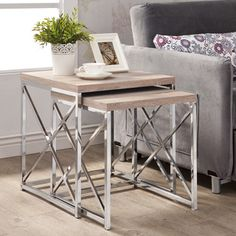 Natural Reclaimed-look Chrome Metal Table - Overstock™ Shopping - Great Deals on Coffee, Sofa & End Tables Iron Furniture, Steel Furniture, Living Room Furniture, Home Furniture, Online Furniture, Furniture Outlet, Marble Furniture, Nesting End Tables, Sofa End Tables