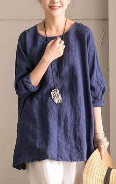 Blue Cotton Linen Bat Sleeve Top Round collar Shirt Summer and Spring For Women C9962B Round Collar Shirt, Collar Shirts, Bat Sleeve, Long Sleeve, Casual Tops For Women, Mode Outfits, Cotton Linen, Cotton Fabric, Linen Tops