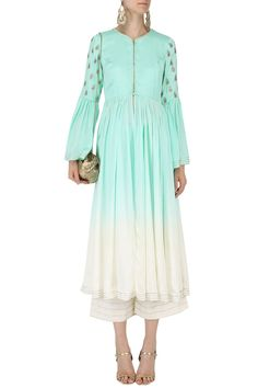 PRIYANKA JAIN Sky Blue and White Ombre Anarkali with Palazzo Pants Set. Shop now! #priyankajain #skyblue #white #ombre #anarkali #palazzo #ethnic #style #fashion #indianfashion #indiandesigners #perniaspopupshop #happyshopping
