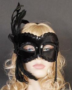 Masquerade Mask, black decorated with beads & feathers