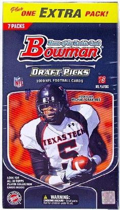 2009 Bowman Draft Picks Football Blaster 8-Pack Box by Draft Picks & Prospects. $12.95. Look for Autographed Rookie Cards Autographed Rookie Patch Cards!! Key Rookies: Matthew Stafford, Mark Sanchez, Knowshon Moreno, Arian Foster, Chris Wells, LeSean McCoy, Shonn Greene, Donald Brown, Javon Ringer, Michael Crabtree, Percy Harvin, Hakeem Nicks, Brandon LaFell, Darius Heyward-Bey, Derrick Williams, Juaquin Iglesias, Kenny Britt, Brian Robiskie, Brandon Pettigrew, Josh F...
