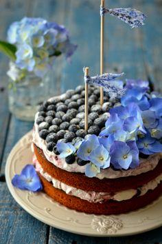 Lemony Hazelnut & Blueberry Cake
