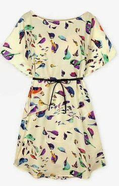 Short Sleeve Birds Print Shift Dress