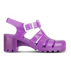 JuJu Women's Babe Heeled Jelly Sandals found on Polyvore featuring polyvore, fashion, shoes, sandals, fluro purple, strappy sandals, mid heel sandals, chunky block heel sandals, thick heel sandals and purple shoes