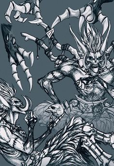 """lurluu: """" I…. can't stop… drawing him…. Help me. Some Bwonsamdi sketches I've done over the past days. Warcraft 3, World Of Warcraft, Mythological Creatures, Fantasy Creatures, Voodoo, Wow World, Creepy Art, Sketch Painting, My Favorite Image"""