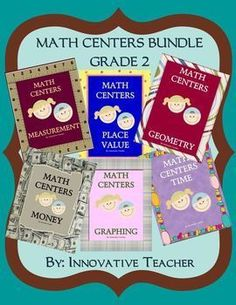 Math Centers Bundle - Grade 2 by Innovative Teacher includes 30 center activities that will strengthen your student's understanding of measurement, place value, geometry, money, graphing, and time.