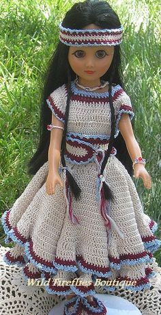 Crocheted American Indian Doll by ShopWildFireflies on Etsy, $25.00