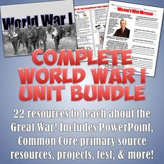 This fantastic bundle includes an incredible set of 22 resources for a complete, interactive unit on World War I! Every day is planned out and I have been using all of these in my classes for a number of years to fantastic success when I teach about WWI. World History Classroom, World History Teaching, World History Lessons, Teaching 5th Grade, Teaching Social Studies, Teaching Resources, Teaching Ideas, Middle School History, High School
