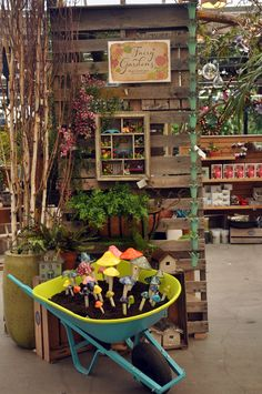 Fairy garden display at Molbak's made from old pallets