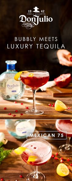 Even during the holiday frenzy, friends make time to meet up for Don Julio cocktails – like our Mexican 75. Add the 1 OZ DJ Blanco, ¼ OZ lemon juice, ¼ OZ pomegranate juice and a dash of rose water to a cocktail shaker, then ice. Shake vigorously for 15 seconds. Strain over into a Coupe glass. Top up glass with  Champagne or Dry Sparkling Wine, and garnish with a teaspoon of fresh pomegranate seeds.