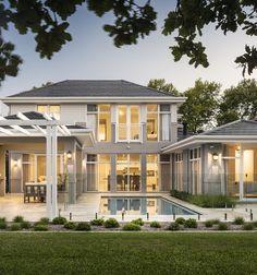 FYI: Hamptons Custom Home in Applecross – Oswald Homes Patio Interior, Interior Exterior, Exterior Design, Hamptons Style Homes, The Hamptons, Hamptons Beach Houses, Hamptons Style Bedrooms, Villa, American Houses
