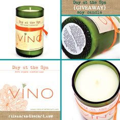 **LAST DAY TO ENTER!!**  Day at the Spa Soy Candle {GIVEAWAY} - Ends 09.09.12 - Visit www.reincarnationsart.com/blog to enter for your chance to win this YUMMY candle!