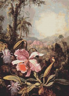 Counted Cross Stitch KIT Orchids and Passion Flowers by Martin Johnson Heade by TheArtofCrossStitch on Etsy. Also available in PDF. #crossstitch