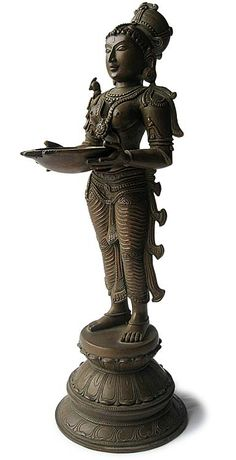 Deepalakshmi Lost Wax Master Piece Origin: India, Circa: 20th Century H 15.75 in.(40cm), W 6 in.(16cm), D 5 in.(13cm)