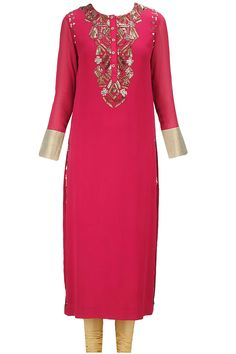 Deep red sequin embroidered straight kurta set only at Pernia's Pop-Up Shop.