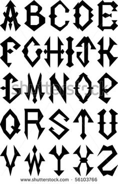 Vector Set of Gothic Style Alphabet Letters. Typeface Font, Typography Fonts, Tattoo Lettering Alphabet, Monogram Stencil, Different Lettering, Calligraphy Doodles, Alphabet Stencils, Alphabet Letters, Graffiti Font