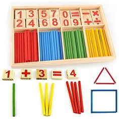 fast-shop 52 Spindles Wooden Number Sticks Montessori Number Cards and Counting Rods with Box Mathematics Material Educational Toy for Kid Children Toddlers Durable and Practical Math Activities For Kids, Preschool Education, Kids Learning, Educational Toys For Kids, Kids Toys, Mathematics Games, Wooden Numbers, Math Manipulatives, Simple Math