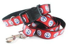 Hey Sailor Dog Collar and Leash Set - Navy Anchors on Red Grosgrain - Made with Durable Black Nylon Webbing (Medium-XLarge) on Etsy, $27.15 CAD