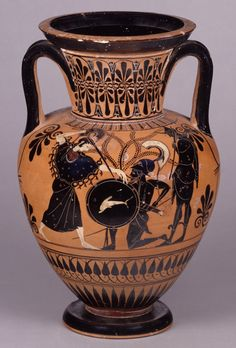Full: Front Pottery: black-figured neck-amphora with lid: lyre player (back: Athena and giant). Ancient Egyptian Art, Ancient History, Ancient Greece, Britisches Museum, Museum Plan, Museum Shop, British Museum Egypt, Museum Photography, London Photography
