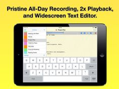 Audio Notebook: All-Day Sound Recorder Widescreen Notepad and Color Coded Note Organizer on App Store:   All-Day Audio Recorder 2x Playback and Wide-Screen Text Editor. Audio Notebook is perfect for: - Students: To record all your lectures an...  Developer: Qrayon LLC  Download at http://ift.tt/1E4DkoO