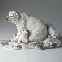 Polar Bear with Cubs Porcelain Sculpture