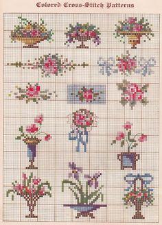 flowers, flowers bouquet, cross stitch