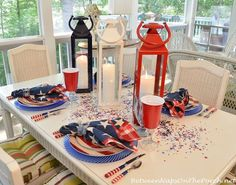 DIY Red, White & Blue Table Setting for Patriotic parties and gatherings, Memorial Day, Flag Day, Fourth of July