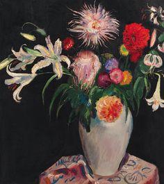 Lilies and chrysanthemums in a vase, Jan Sluijters. Dutch (1881 - 1957)