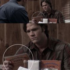 "I was rewatching Supernatural, and in ""The Monster at the End of This Book"", I found a little Easter egg I hadn't noticed the first time around Does it say Kripke's Hollow instead of Stars Hollow. Supernatural Episodes, Supernatural Tv Show, Even When It Hurts, Stars Hollow, Winchester Boys, Tv Times, Super Natural, Destiel, Superwholock"